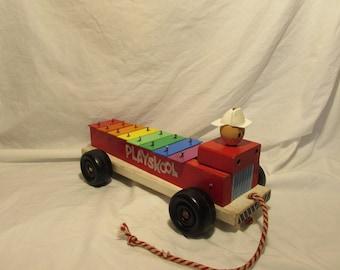 Vintage Playskool, Firetruck Xylophone, Wood/Plastic/Metal