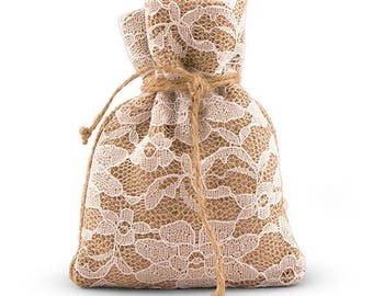 Rustic Lace Wedding Favor Bags with Burlap (Pack of 12) Country Wedding