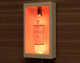 Macallan 12 year Single Malt Scotch Whiskey Shadowbox Wall Mount or Tabletop Color Changing Bottle Lamp Bar Light  LED Remote Controlled