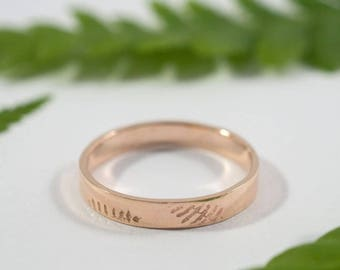 Her and Hers Fern Wedding Bands: A pair of 9ct rose gold textured wedding bands