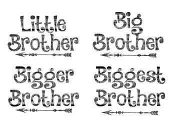 Little Brother, Big Brother SVG Files, Cutting Files for, Silhouette Studio, Designer Edition, SVG for Cricut Design Space Printable Clipart