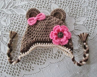 READY TO SHIP - 3 to 6 Month Size - Medium Brown Bear Crochet Bear Hat with Flower and Bow - Winter Hat or Photo Prop