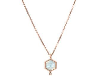 Moonstone Necklace, Hexagon Moonstone Diamond Necklace, Modern Gold Moonstone Necklace, Bridal Necklace, Hexagon Necklace, Blue Flash, NIXIN