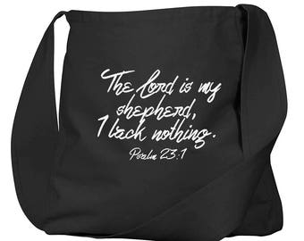 Psalm 23:1 Black Organic Cotton Slouch Bag