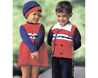 Kids Knitting Pattern, Girls Dress & Beret Pattern, Boys Jacket Pattern Striped Outfits Americana PDF Instant Download Child Size 4 6 8- K55