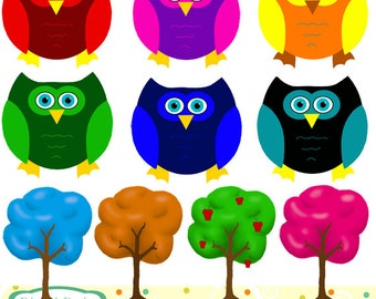 Owls and trees clip art set, 10 designs. INSTANT DOWNLOAD for Personal and commercial use.