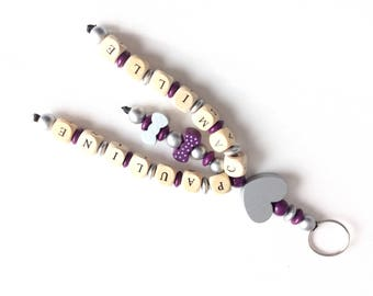 Personalized Keychain, wooden beads double names
