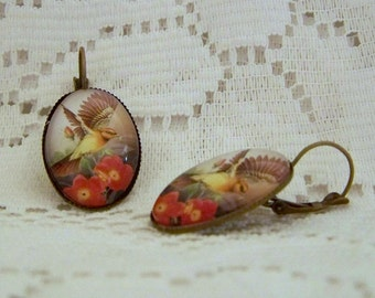Flying Sparrow Earrings - Flying Free - Antiqued Bronze - Bird Watching - Red Flowers - Brown Yellow Cream - Bird Earrings - Ornithology
