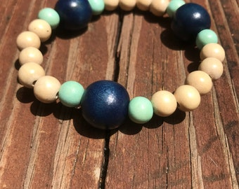 Navy Mint and Natural Wood Bracelet