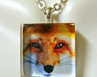 Red fox pendant and chain - WGP01-003
