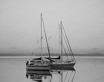 BLACK AND WHITE Photography, ocean scene B & W sail boat, Sailing photo, nautical historical, ocean photo, wall art, fine art, home decor