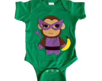 Superhero Baby Bodysuit - Team Super Animals - Monkey Banana Green Infant Bodysuit - Baby Clothes Gift