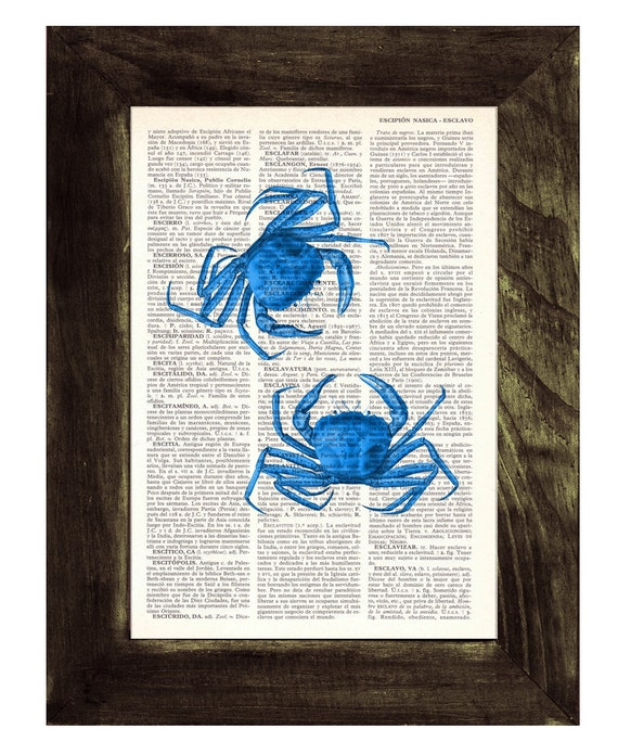 Art print, blue crabs, Book print Electric blue Crabs Print on Vintage Dictionary Book page- Bathroom Wall art SEA106