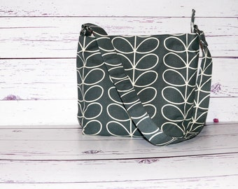 Grey Shoulder Bag  - Cream Leaves - Fabric Bag - Gifts for Her - Recessed Zippered Bag