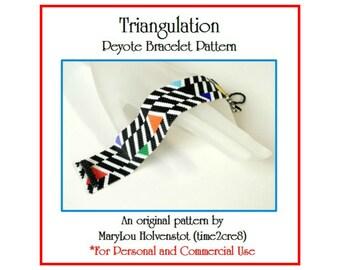 Peyote Bracelet Pattern ... TRIANGULATION ... Beadwoven  Geometric Design Black and White Multicolor PDF Instruction Tutorial Bold Modern