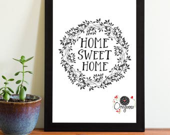 Home Sweet Home print-Welcome sign-Housewarming gift-Mexican Doll Typographic home quote-Blackwhite printable-Entrance decor-Welcome poster