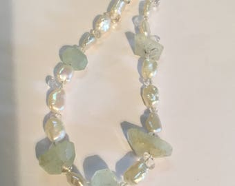Freshwater Baroque Pearl Necklace with Beryl nuggets - Natural Gemstone