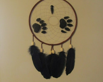 10 inch handcrafted brown dreamcatcher with bear paws and arrow head