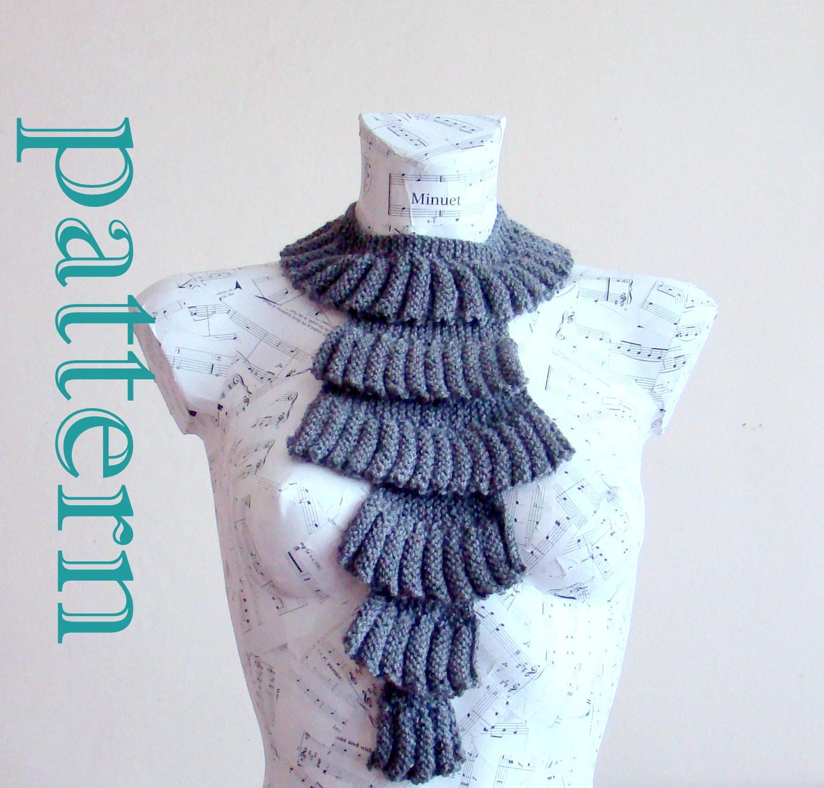 Vintage Ruffle Jabot Scarf Pattern knitting pattern ruffled scarf ...