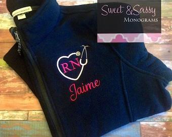 Nurse Heart Stethoscope Custom Monogrammed Full Zip Fleece Jacket, Nurse Gift. Nurse Jacket