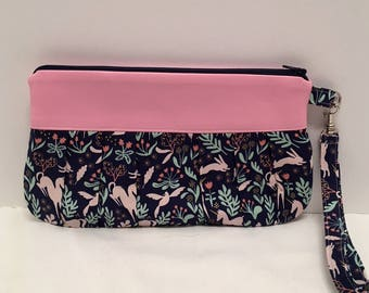 AK14- Compleat Clutch: in a fabulous forest print with pleated front, zipper closure and detatchable hand strap
