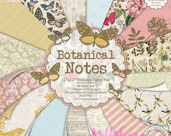 """Printed paper 30.5 X 30.5 cm, """"BOTANICAL NOTES"""" collection, background papers, set of 16 leaves"""