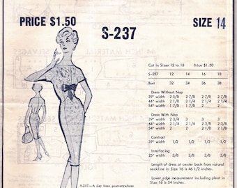 50's Modes Royale S237 Pattern Day Time Wiggle Dress Vintage Sewing Patterns Size 14 Bust 34