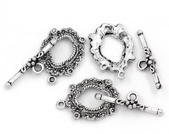 5 gorgeous toggles clasps engraved CADMIUM-free zinc alloy