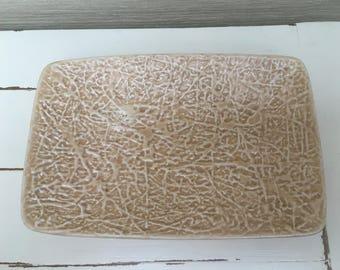 Vintage Sylvac beige textured trinket dish / serving platter 3890