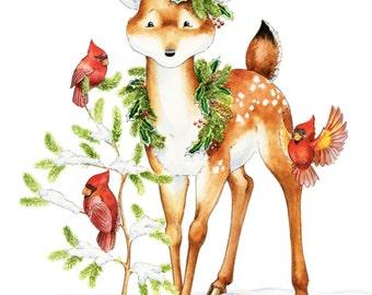 Watercolor Nursery Art. Oh Christmas Tree -  Deer Fawn Giclee Print, Original Artwork, Children's illustration, Nursery Wall Art