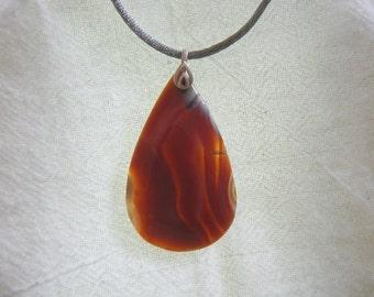 PAY IT FORWARD - Tear-drop shaped red orange Madagascar agate pendant (P186)