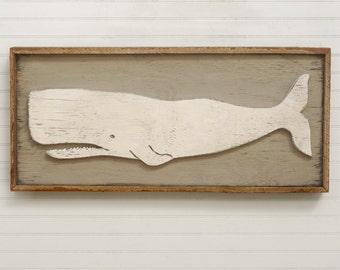 Whale Art Coastal Decor Rustic White Whale Art Folk Whale Wooden Framed Whale Reclaimed Wood Frame
