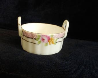 Nippon Salt Dish Salt Cellar Fine Porcelain Basket Style Ring Dish Vanity Display Dish Pink Roses Mini Bowl