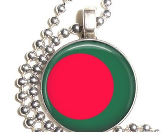 Bangladesh Flag Art Pendant, Earrings and/or Keychain, Round Photo Silver and Resin Charm Jewelry, Flag Earrings, Flag Key Fob