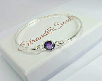 Slim Sterling Silver Bangle With Bezel Connector - Interchangeable Bangle - Gift For Her - Bridesmaid Gift