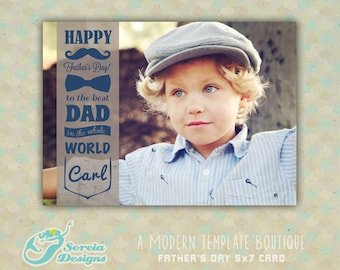 Father's Day Photoshop Card Template - INSTANT DOWNLOAD - S0045