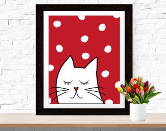 Cat Poster, Kids Room Cat Print, Crazy Cat Lady Red White Print, Modern Scandinavian Design Wall Art Decor White Cat Kids Room Nursery