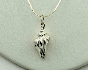 """Conch Shell Vintage Sterling Silver Pendant.  FREE SHIPPING 18"""" Sterling Silver Chain Included! #SHELL-SPC11"""