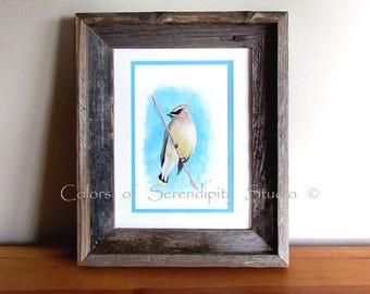 "Waxwing - Original Watercolor Songbird Painting with Barn Wood Frame, Double Matted, 10 3/4"" x 12 7/8"""