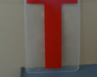 Vintage Industrial Salvaged Acrylic Letter T Tile Block