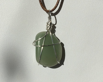 Green Aventurine Wire Wrapped Pendant.