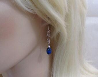 Lapis Earrings, Sterling Silver, Lapis Lazuli Gemstone Earrings, Lapis Jewelry, Filigree Earrings, Bride Earrings, Blue Dangle Earrings