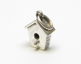 BIRDHOUSE CHARM, Bird Lovers Gift, Bird Jewelry, Birdhouse Necklace, Bird House Charm, Sterling Silver, Charms, Gift for Wife, Gift for Her