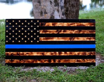 Wooden Rustic American Flag (Thin Blue Line)