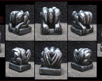 Metallic Silver Hydra Figure - Strange Creature Idol - Hand Carved miniature Cast in Resin
