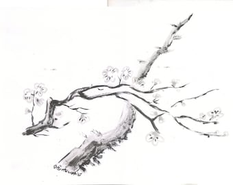Plum-tree branches Sumi-e ink painting traditional Japanese