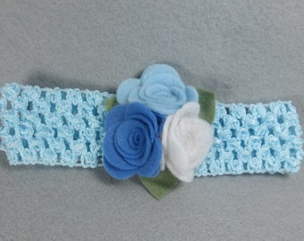 Baby Girl Headband - Blue Felt Flower Headband, Elastic Stretchy Headband, Baby Headband, Infant Headband, Womens Headband