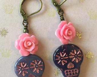 Purple and Pink Day of the Dead Earrings