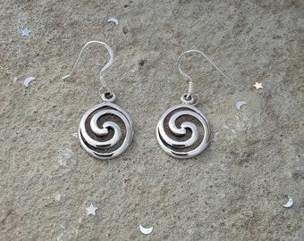 Swirl Earrings, Sterling Silver Swirl Dangle Earrings, Lightweight Dangle Earrings