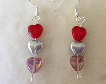Heart Earrings, Heart Jewellery, Three Heart Earrings, Heart Drop Earrings, Love Earrings, Love and Hearts, Gift For Her, Christmas Hearts